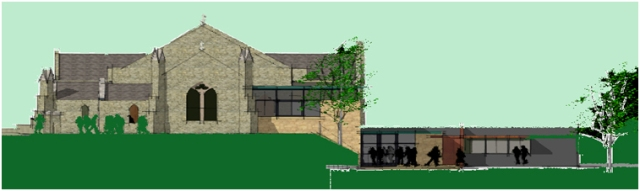 Sketch of new hall and link building